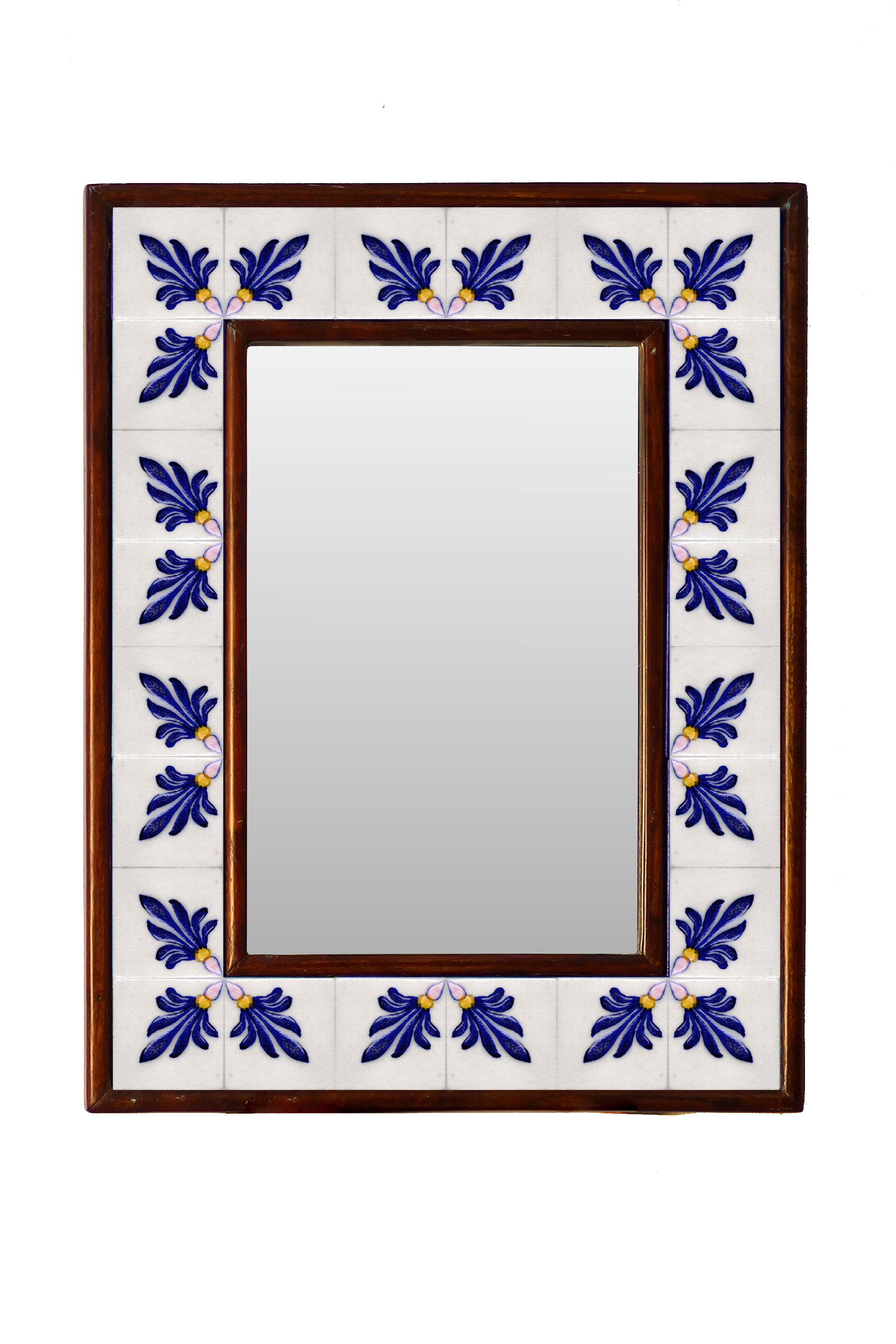 white and blue embossed tile mirror 12 x 16 knobco. Black Bedroom Furniture Sets. Home Design Ideas