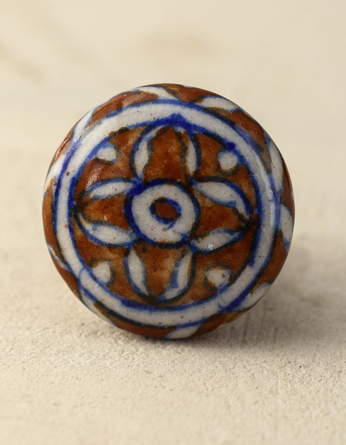 Brown And White Floral Ceramic Cabinet Knob   Knobco