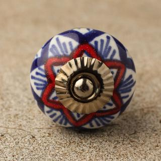 BPCK-107 Red and Blue design with base ceramic knob-Antique Silver
