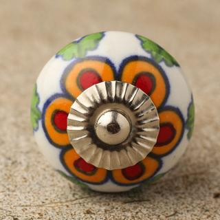 Orange and Red flower and Green leaf with white base ceramic Door knob- Silver