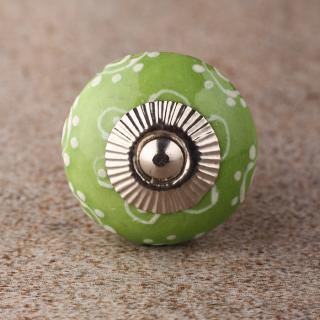 BPCK-122 White And Green Knob-Silver