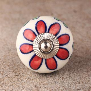 BPCK-133 Red , Green and Turquoise leaf color Ceramic knob-Silver