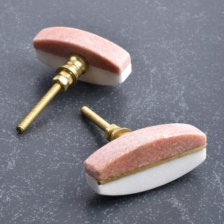 Pink And White Agate Stone Cabinet Knobs-1