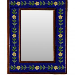 "WHITE AND BLUE EMBOSSED TILE MIRROR 12"" X 16"""