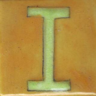 BPAT-009-Lime Green I Alphabet Yellow Tile (2x2)