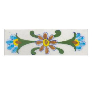 Turquoise,Yellow,Brown flower and Green leaf with White base Tile (2x6)