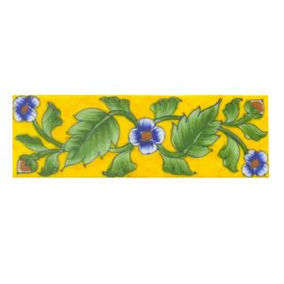 Blue saiding flower and Lime Green leaf with Yellow base Tile (2x6)