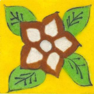 Brown & green flower on yellow tile