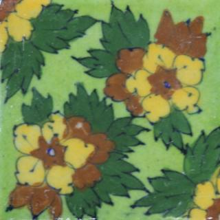 yellow, brown & green flowers on light green tile (3x3-bpt09)