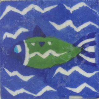 Green and Blue Fish with Blue Base Tile