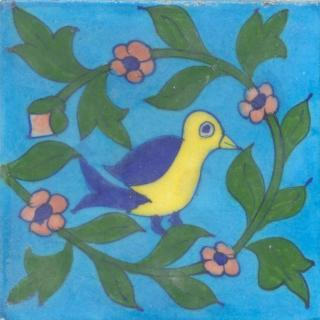Blue,Yellow Bird and Pink Flower, Green Leaf with Turquoise Base Tile
