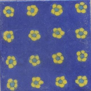 Yellow and Blue Flower with Blue Base Tile
