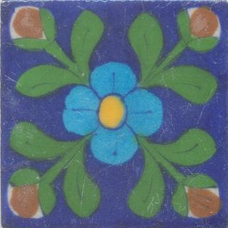 Yellow and Turquoise Flower and Green leaf with Blue Base Tile