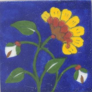 Yellow, Red and Brown Flower and Green leaf with Blue Base Tile