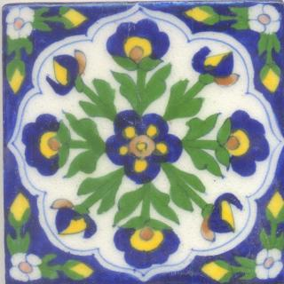 Blue, Yellow and Brown Flowers with White Base Tile