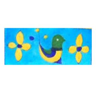 Green, Yellow & blue bird with yellow flowers on turquoise tile (2x4-BPT-13)