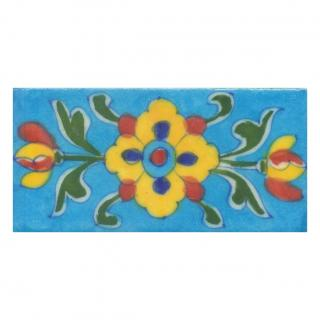 Yellow,Blue and Brown Flowers and Green leaf with Turquoise Base Tile