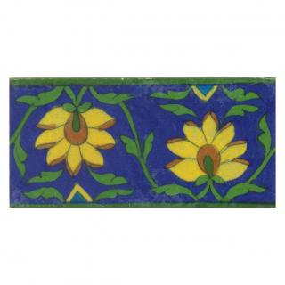 Two yellow flower and green leaves with blue tile