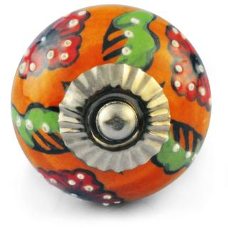 Orange Color knob, Red Flower, Green leaf and Embossed White dots