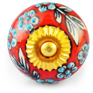 White Flower and White leaf and Turquoise Dots with Red and White Knob