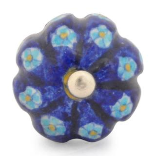 KNM-020-Turquoie Flower with Blue Base Melon Knob