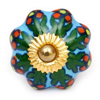 KPS-4466 - Turquoise knob and Colored flower and green leaf