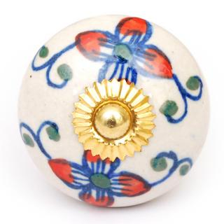 KPS-4629 - Red and Blue Flowers and Vines on a White Ceramic Cabinet Knob