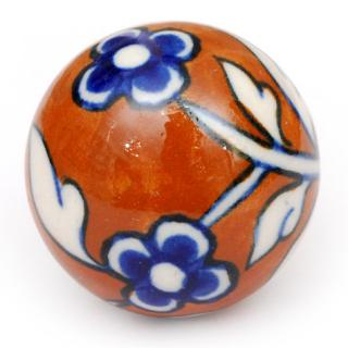 kps4644 brown ceramic cabinet knob with blue flowers and white leaves
