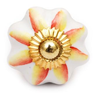 KPS-9011 - Yellow and Red Flower White Base knob