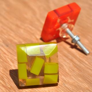 Rectangular Transparent Door Knobs with Rectangular Pastel Shades in Lime Green
