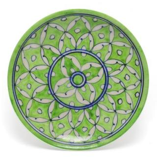 White Leaves on Green Base Plate 6''
