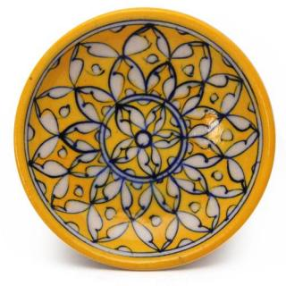 """White Leaves on Yellow Base Plate 5"""""""